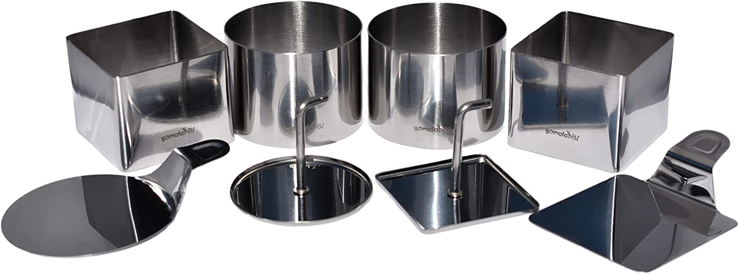 Plating Dish Ring Set For Prepping, Plating, Forming - Professional Stainless Steel, 8 Piece Set