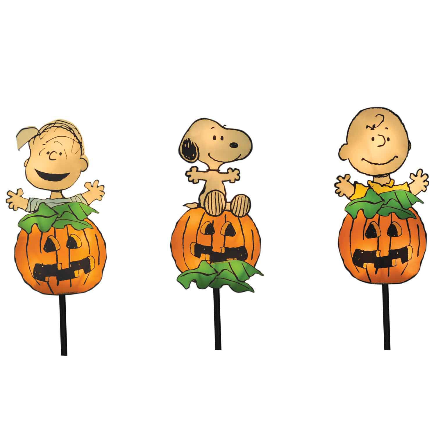 ProductWorks 8-Inch Pre-Lit Peanuts Great Pumpkin Gang Halloween Pathway Markers (Set of 3)
