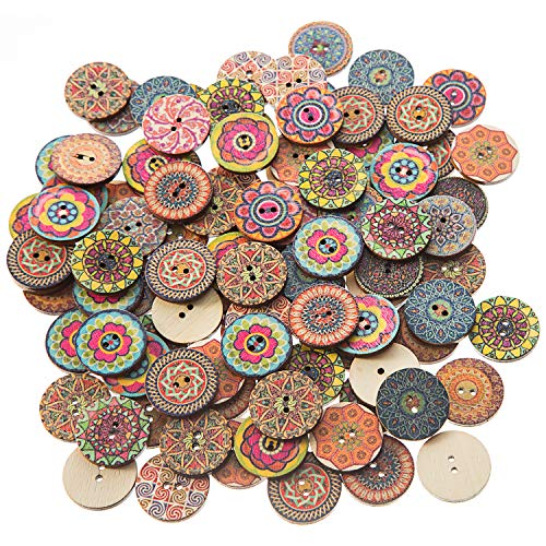 EMAAN 100 pieces of Vintage Wood Buttons, Random Mixed Pattern 2 Holes Round Craft Button Sewing DIY Crafts Decoration Children's Handmade Button (25mm / 1 inch)