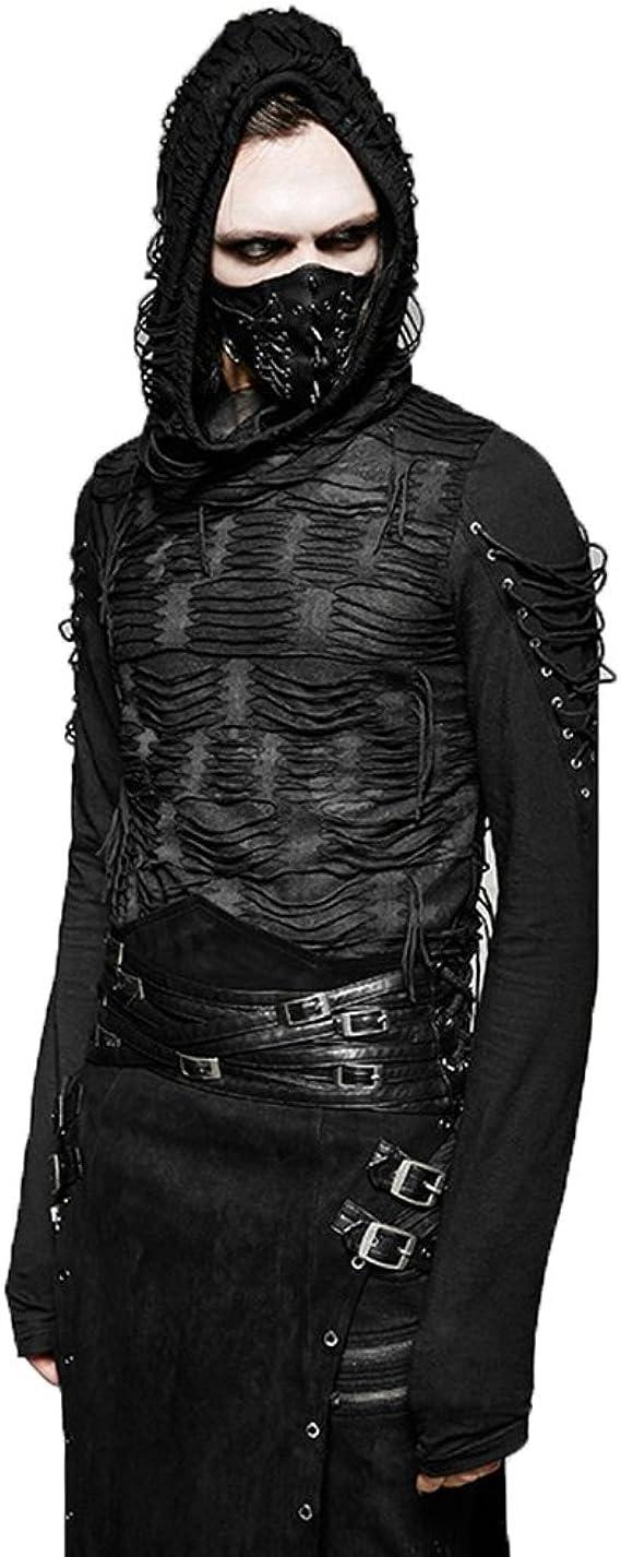 Steampunk Hommes Double Couches Irrégulière À Manches Longues Tops À Capuche, Gothique Décadent Noir T Shirt De Mode pour Les Hommes, Punk Casual Chic