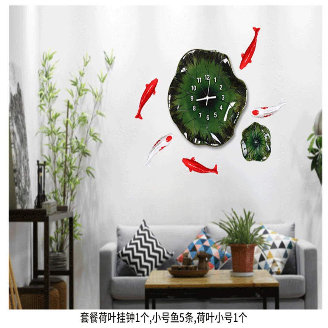 OWNFSKNL 中国の創造的な蓮の葉の三次元の壁時計シンプルな雰囲気 (Style : A) A  B07QK97MWP