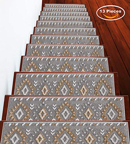 Sussexhome Stair Treads Traditional Collection Contemporary, Cozy, Vibrant and Soft Stair Treads | Beige & White, 9