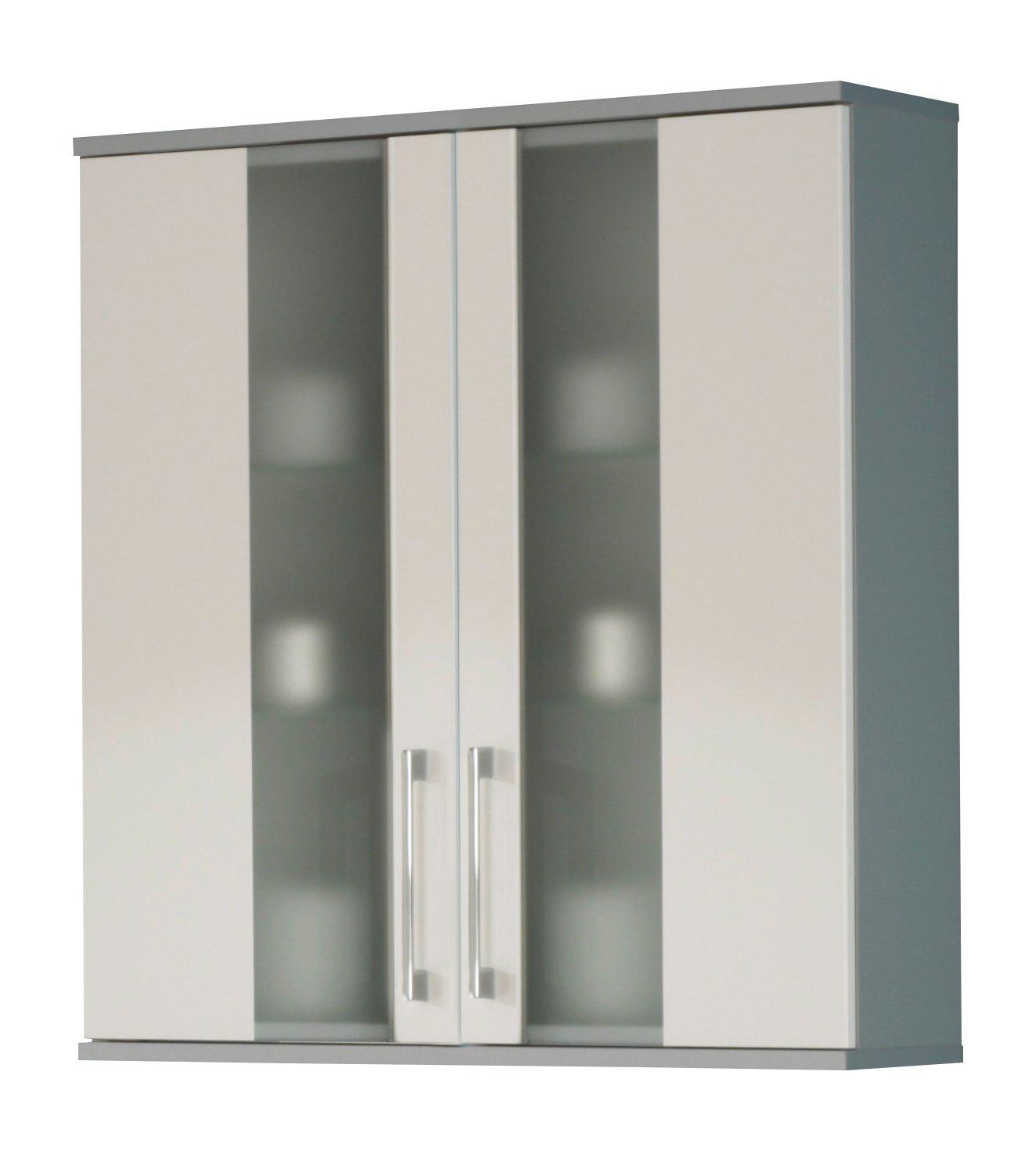 Kesper Badmöbel 5510910764101000 Hängeschrank Rimini, 2 Türen, 73,5 x 65 x 21 cm, alu weiß