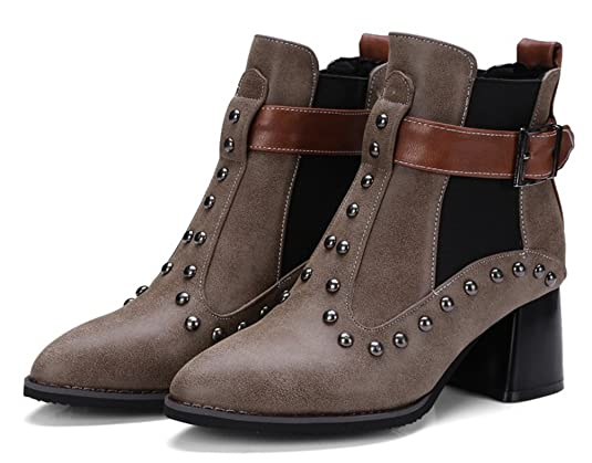 Easemax Damen Punk Metall Nieten Riemen Elastisch Ankle Boots Mit Absatz Schwarz 33 EU 2k3PeCN