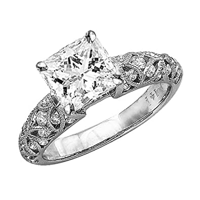 348adb5251fff 0.98 Cttw 14K White Gold Princess Cut Vintage Style Channel Set Filigree Diamond  Engagement Ring with a 0.5 Carat I-J Color SI1-SI2 Clarity Center