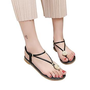 Sandalias de verano, familiizo moda mujer bohemia perla sandalias de verano moda diamante sandalias planas