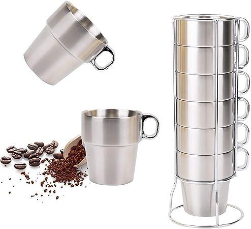 SOPRETY Juego de Taza de café, Acero Inoxidable, Taza de té con ...