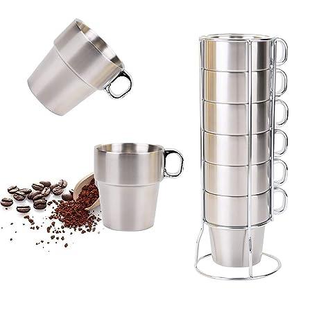 SOPRETY Juego de Taza de café, Acero Inoxidable, Taza de té ...