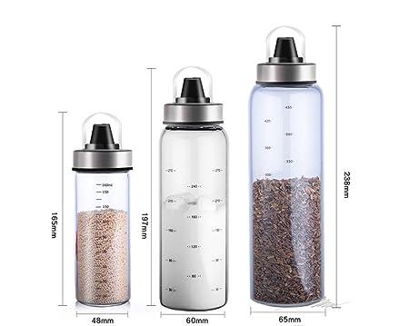 Aceite de oliva y dispensador de vinagre - Botellas de cristal transparente para cocinar sin goteo - Botella dispensadora de aceites de cocina C-170ml: ...