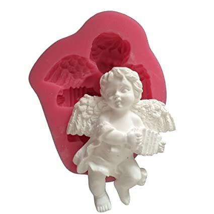MoldFun Small Size Baby Angel with Wings Statue Silicone Mold for Fondant,  Cake/Cupcake Decorating, Chocolate, Candy, Soap, Lotion Bar, Plaster of