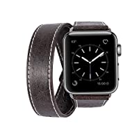 Cinturino Apple Watch 42mm, MroTech iWatch Serie 3/ 2/ 1 Braccialetti Apple Watch Band di Ricambio Accessori Cinturino in vera pelle per Apple Watch Sport / Edition / Nike+ donne e uomini (Dual Loop, Caffè, 42 mm)