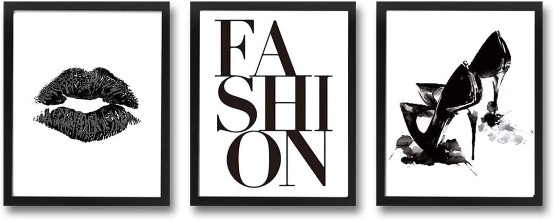 "HPNIUB Framed Make Up Art Prints,Set Of 3 (8""X10"")-Ready To Hang- Fashion Wall Art Watercolor Black Lip High Heels Wall Decor Vogue Canvas For Girls Bedroom Make Up Room Dressing Room Decor"