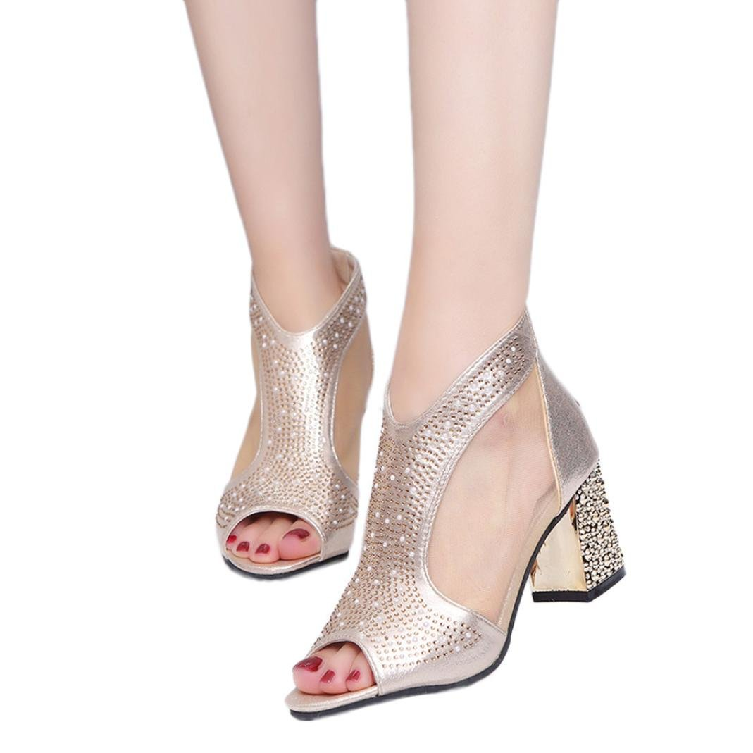 BeautyVan—— Women Rivet Breathable Rough Heel Sandals Women Party Club Glittering High Heeled Shoes Open Toe high Heels (US:7.5, Gold)