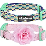 """Blueberry Pet Multiple Designs 2 PCs Valentine Mix and Match Pretty Picks Designer Dog Collar for Puppies & Small Dogs with Pink Flower, S, Neck 12""""-16"""""""
