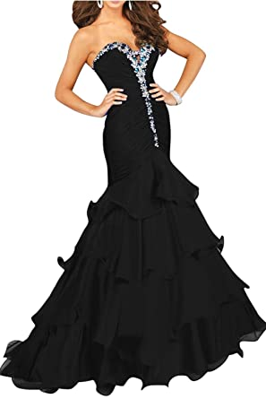 Butalways Womens Mermaid Prom Dresses Long Sweetheart Elegant Formal Evening Gown Black 2