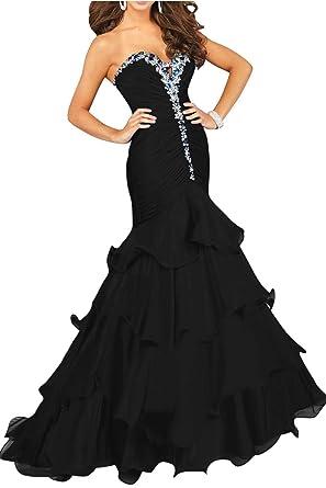 Butalways Womens Mermaid Prom Dresses Long Sweetheart Elegant Formal Evening Gown Black 2