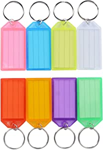 Uniclife 20 Pack Tough Plastic Key Tags with Split Ring Label Window, Assorted Colors