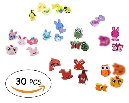 Juego de mancuernas de dibujos animados con diseño de animales, juego de pastillas, tablas de boletines, pines de dibujo, tablas de arte, regalos de boda, ...