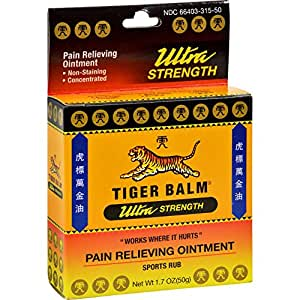 Tiger Balm Pain Relieving Ointment Ultra Strength Non-staining, 1.7 Ounce