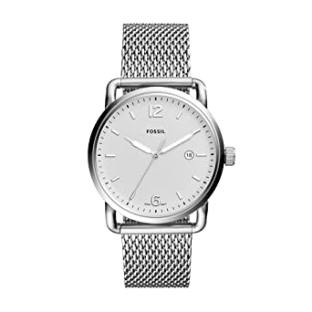Fossil Mens Commuter Quartz Stainless Steel Mesh Casual Watch Color: Silver (Model: FS5418