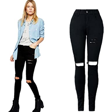31f8c06db04 Perman Women Ripped Knee Cut Skinny Long Jeans Pants Slim Pencil Trousers  (S, Black