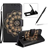 Rope Leather Case for Samsung Galaxy S8,Strap Wallet Case for Samsung Galaxy S8,Herzzer Bookstyle Classic Elegant Mandala Flower Pattern Stand Magnetic Smart Leather Case with Soft Inner for Samsung Galaxy S8 + 1 x Free Black Cellphone Kickstand + 1 x Free Black Stylus Pen - Black
