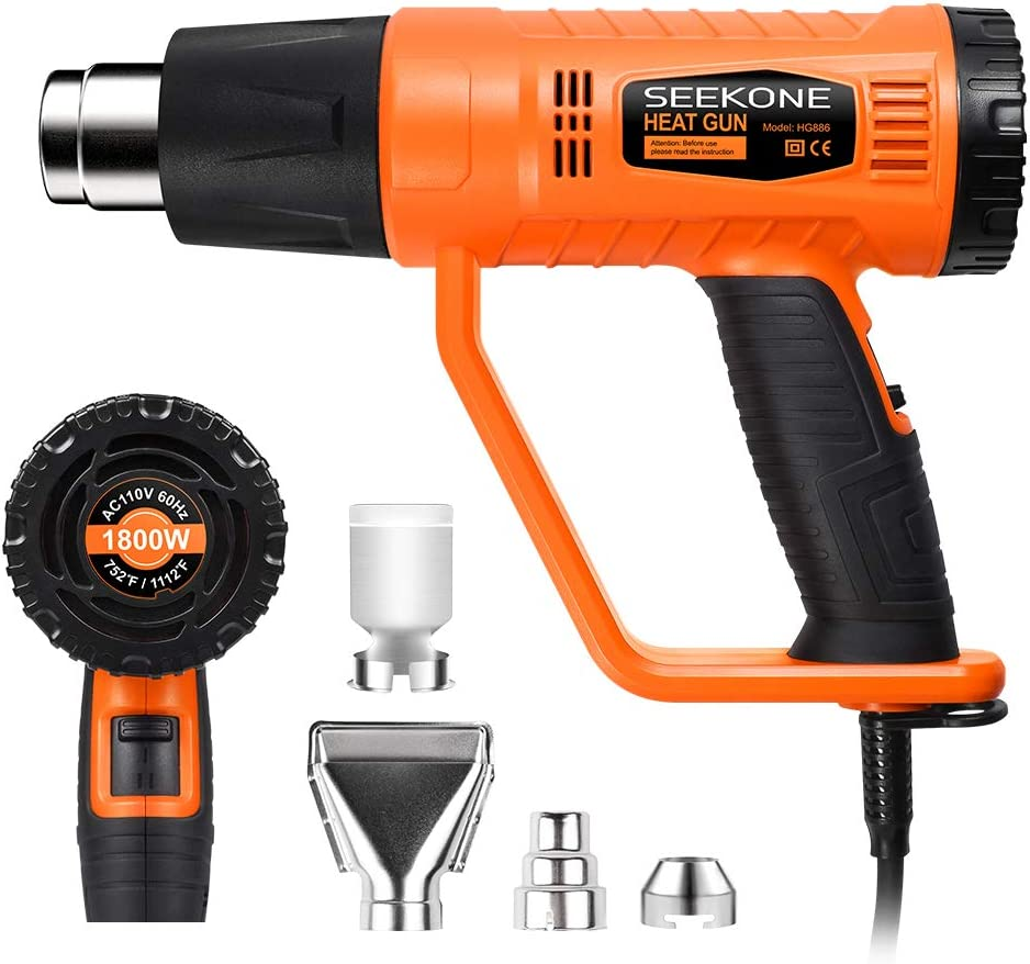 SEEKONE Heat Gun 1800W Heavy Duty Hot Air Gun Kit with 752℉&1112℉ Dual-Temperature Settings and 4 Nozzles for Crafts, Shrinking PVC, Stripping Paint