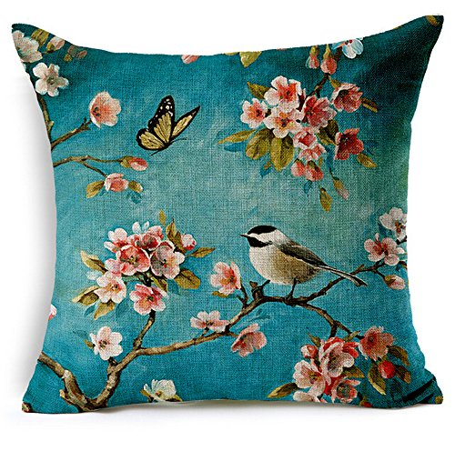Painting Japanese Blossoms Cushion Decorative