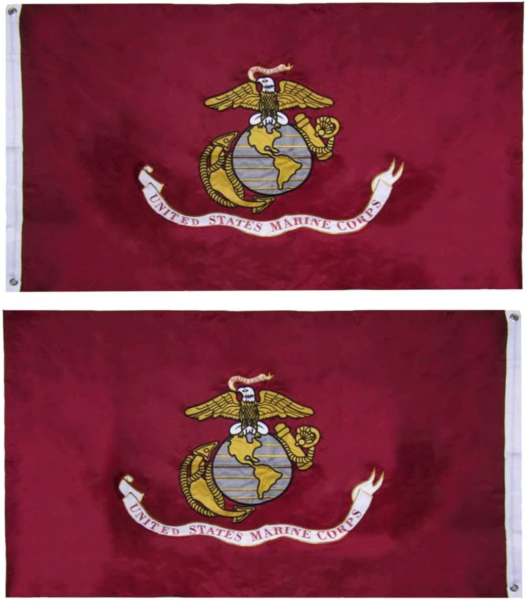Trade Winds Flags US Marine Corps Flag (Heavy Duty & Double-Sided   Embroidered Inside/Outside Use   UV Protected Long Lasting Nylon Brass Grommets for Display   USMC Flag 3x5 ft) (Made in USA)