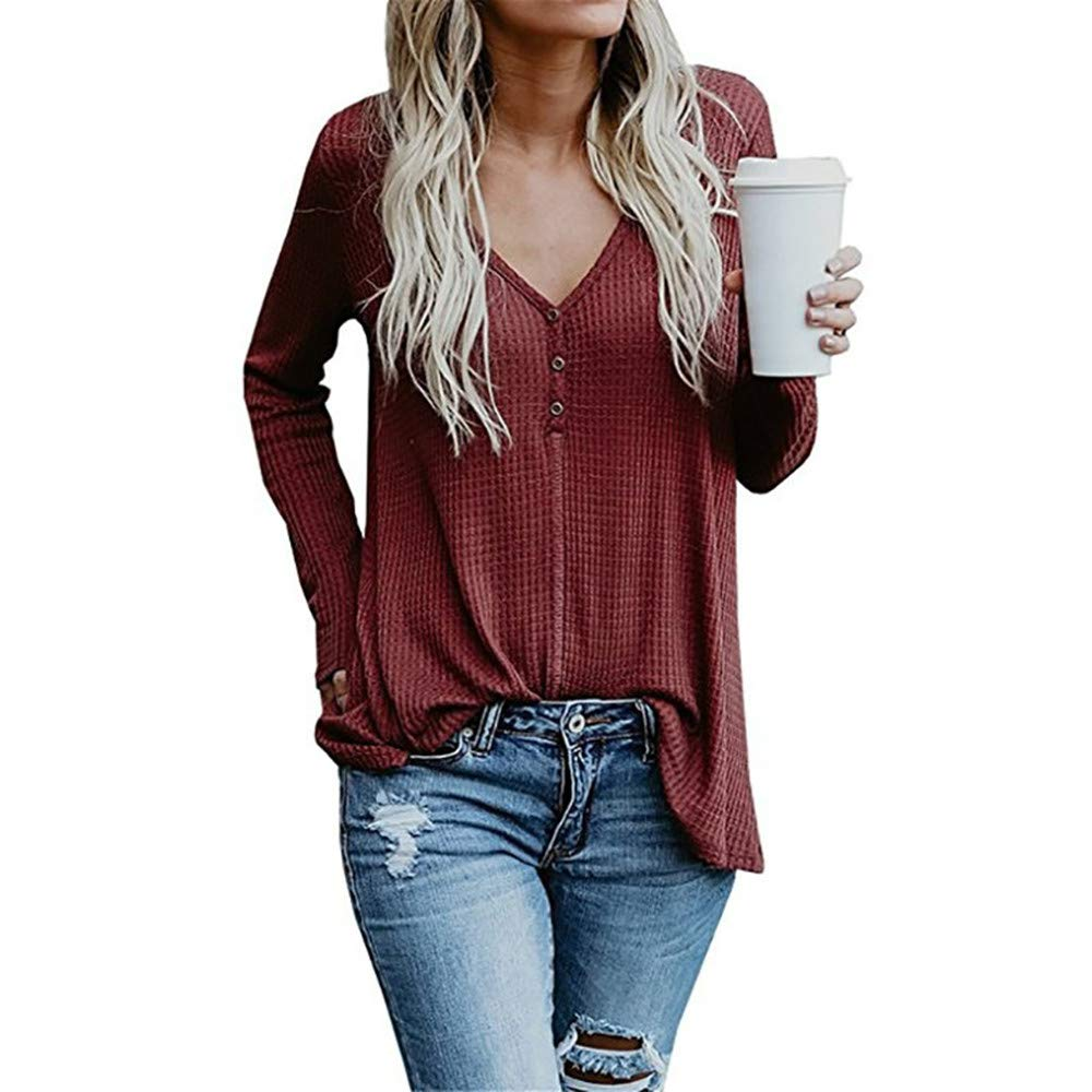 Eiwoda Women Casual V-Neck Button Up Blouse Cotton Long Sleeve Flowy Shirt Tunic Top