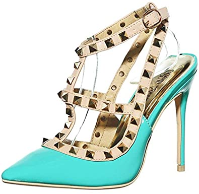 f53c76d6e6 shoewhatever Women's Classy Rivet Studded Strappy Ankle Cuff Pointy Toe  Stiletto Sandals High Heel Dress Pump