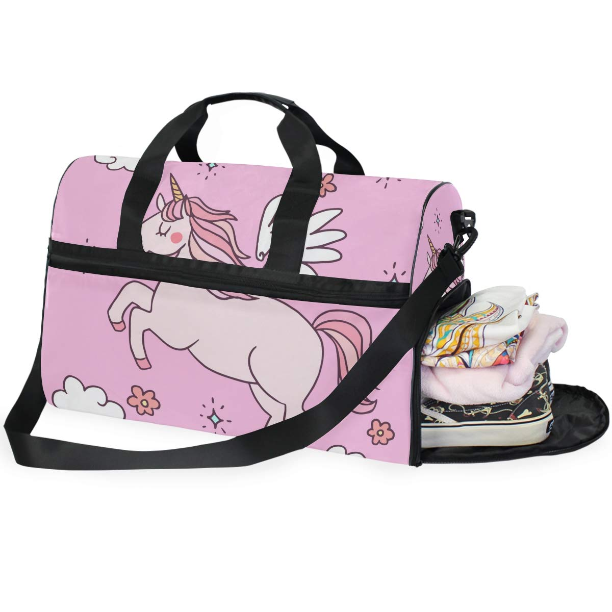 Vacation Travel Duffel Bag Pink Unicorn Waterproof Lightweight Luggage bag for Sports Gym