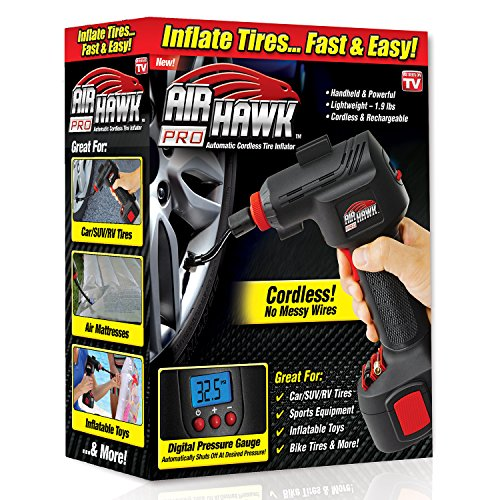 Features an auto stop that can be set to stop at the proper pressure, and prevent over filling. Use on tires, toys, sports equipment, bike tires, air mattresses and more. Best of all, air Hawk is compact and can easily be stored in a cabinet, a car, ...