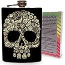 Floral Skull Stainless Steel 8oz Hip Flask for Spirits Drinking Vodka Whiskey Gin Super Hero Flasks Skulls - Gift Box