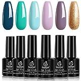 Beetles Gel Nail Polish Set, Treasure Chest Collection Turquoise Lilac Shade Glod Shimmer Soft Blue Nail Gel Polish Nail…