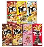 Glico Pretz Biscuit Stick 5 Flavor - Pretz, Larb, Tomyumkung, Fried, Corn, BBQ + Pocky Biscuit Stick 2 Flavor - Pocky Chocolate, Strawberry / Variety Pack (Pack of 7) Mini Pack 25 g.