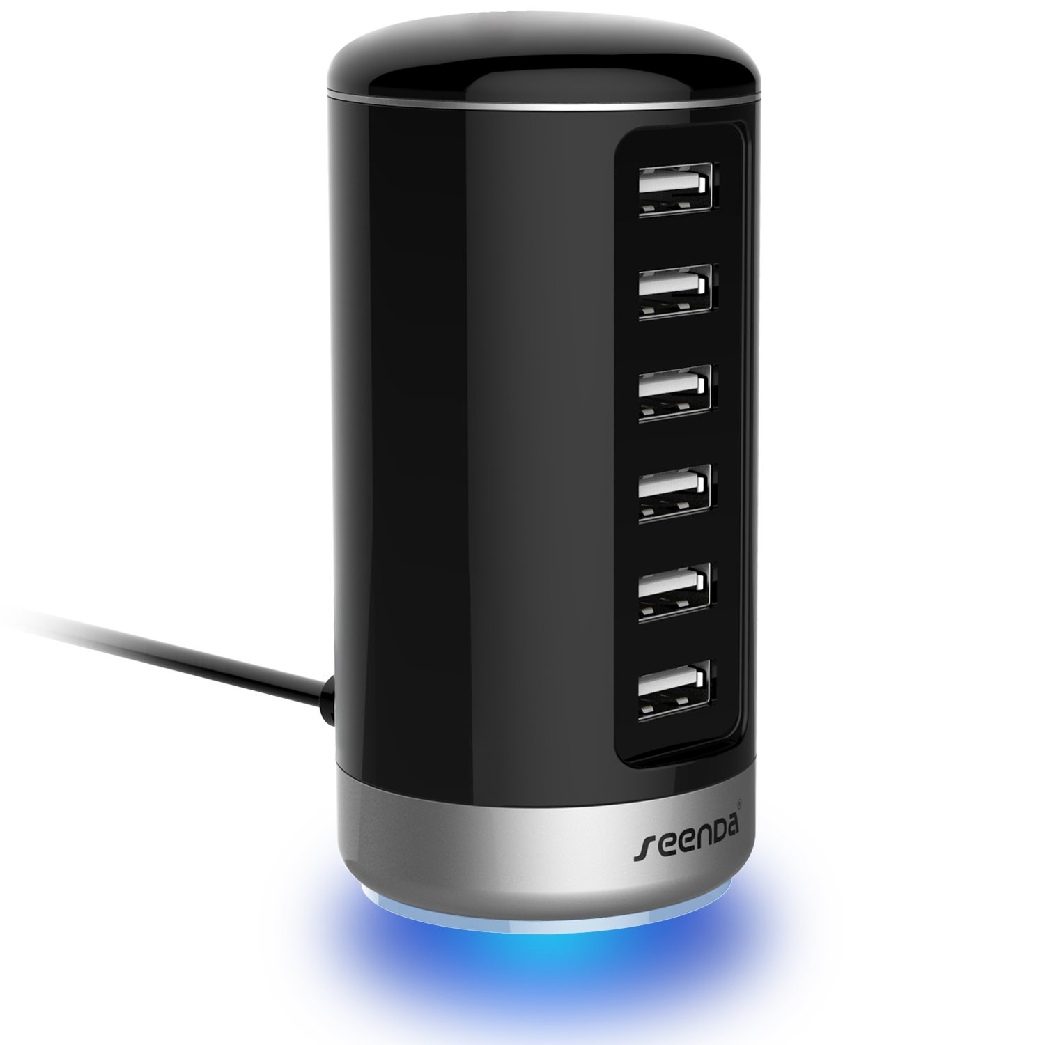 USB Charger, 6 Port USB Wall Charger - Seenda USB Charging Stations with Smart Identification - Black by seenda