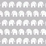 Erstklassiger Baumwollstoff 0,5lfm, 100% Baumwolle, modische Muster, Breite 160cm – Elefanten grau