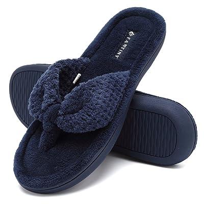 Amazon.com   CIOR Fantiny Women's Cozy Memory Foam Spa Thong Flip Flops House Indoor Slippers Plush Gridding Velvet Lining Clog Style-U1MTW017-Navy Blue-38-39   Slippers