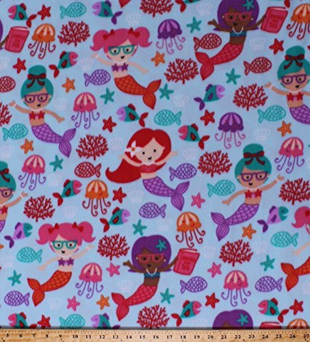 Fleece Mermaids Girls Books Glasses Reading Fish Starfish Jellyfish Seashells Coral Ocean Water Fairy Tales Under the Sea Studious Mermaids Blue Kids Fleece Fabric Print by the Yard (k44741-1b)
