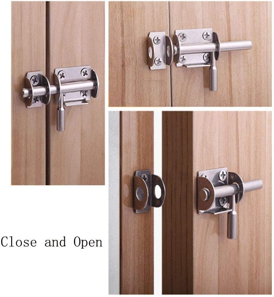 Steel Safety Bucket Latch Buckle with Lock Hole for Fenced Interior Door Brushed Finish Top Sliding Bolt Door Door Latch Sliding Bolt Lock