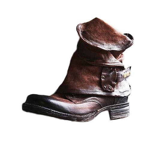 Damen Retro Leder Stiefel Blockabsatz Stiefeletten Frauen Bequeme Schuhe mit Rutschfester Sohle Herbst Winter Casual Boots