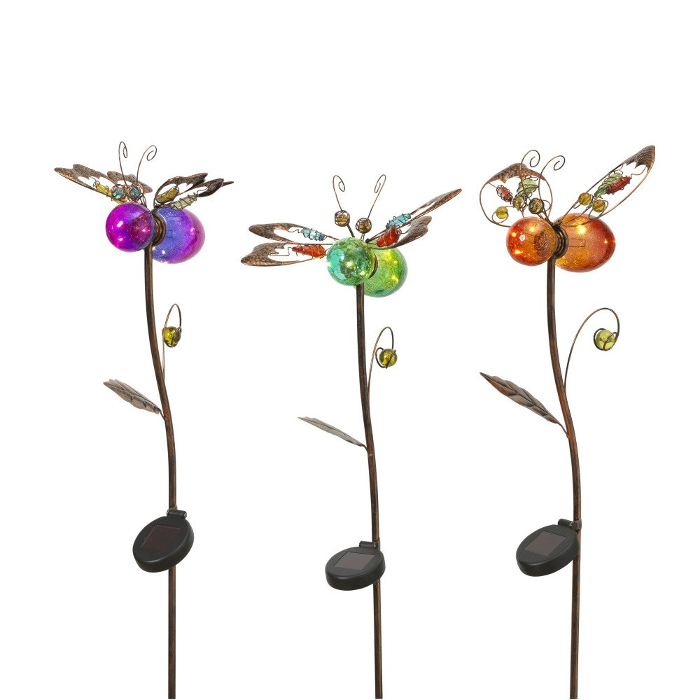 GIL Set Of 3 42.9InH Solar Bug Stakes