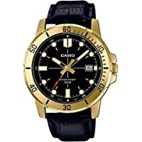 Casio Mens Quartz Watch, Analog Display and Leather Strap MTP-VD01GL-1EVUDF