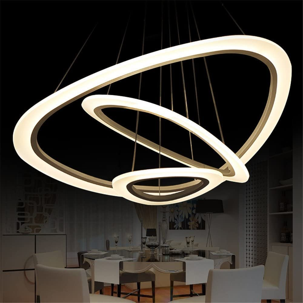 Lámpara colgante de techo LED con cristales, diamantes y tres anillos (diámetros: 30cm, 50cm, 70cm), creativa y moderna, para salón, habitación, luz cálida (75 W)