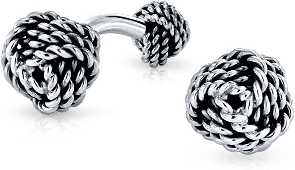 Solid 925 Sterling Silver Round Double Knot Woven Ball Braided Twist Cable Shirt Cufflinks For Men Executive Gift
