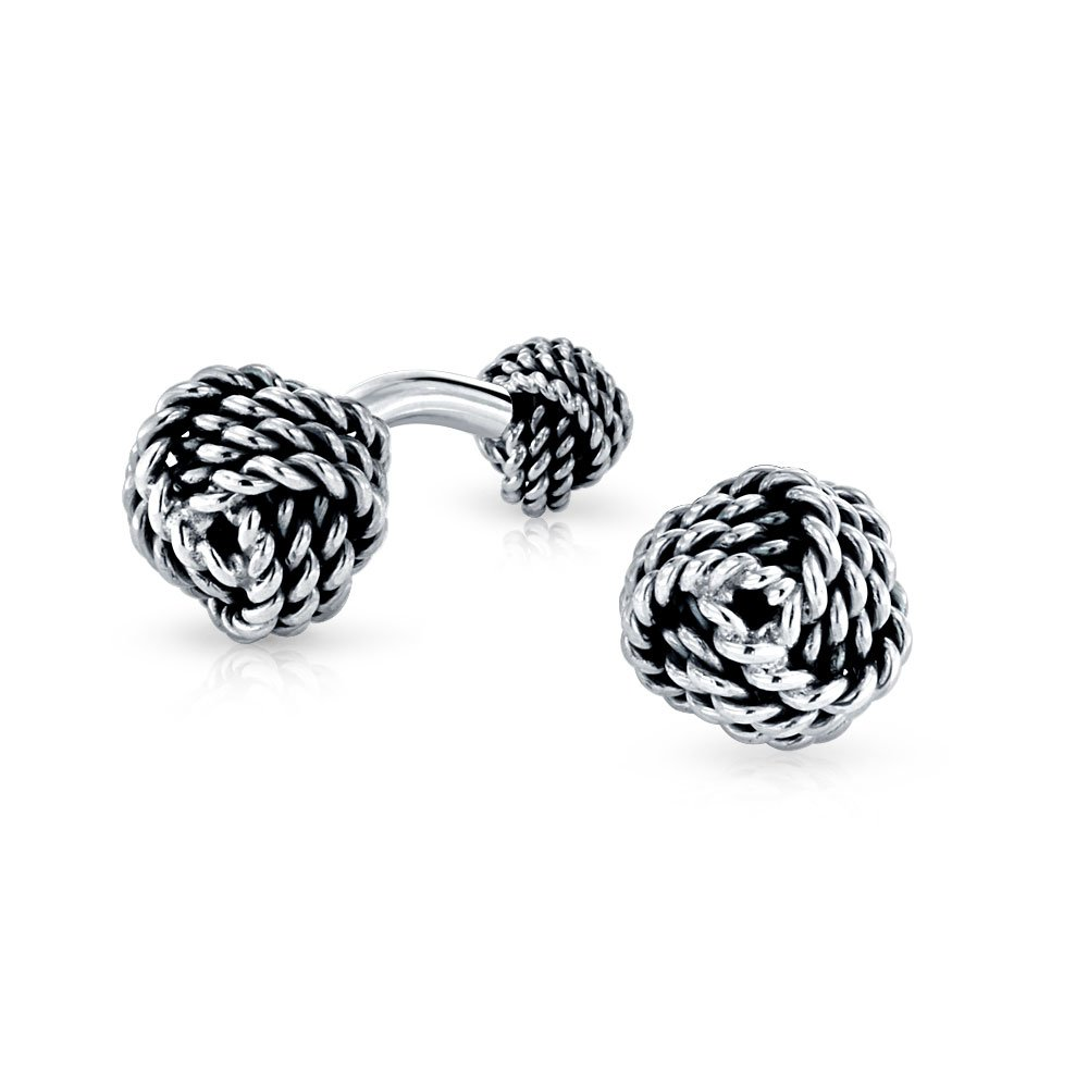 Twisted Cable Love Knot Double Faced Cufflinks 925 Sterling Silver