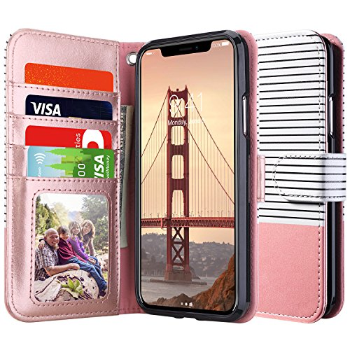 ULAK Wallet Case for iPhone Xs 5.8 Inch 2018, iPhone X 2017, Premium Synthetic Leather with Card Holder Folio Handmade Wrist-Strap Case Kickstand Cover - Rose Gold Minimal Stripes - Womens Apple Wallet