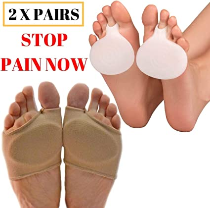 2x Forefoot Insoles Fabric Gel Metatarsal Pads Ball of Foot Cushions Pain Relief