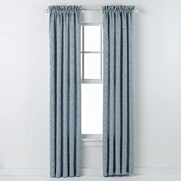 Curtains Ideas 54 curtain panels : Amazon.com: HLC.ME Portofino Blue Jacquard Curtain Panels - 54